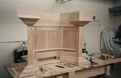 Pulpit under construction